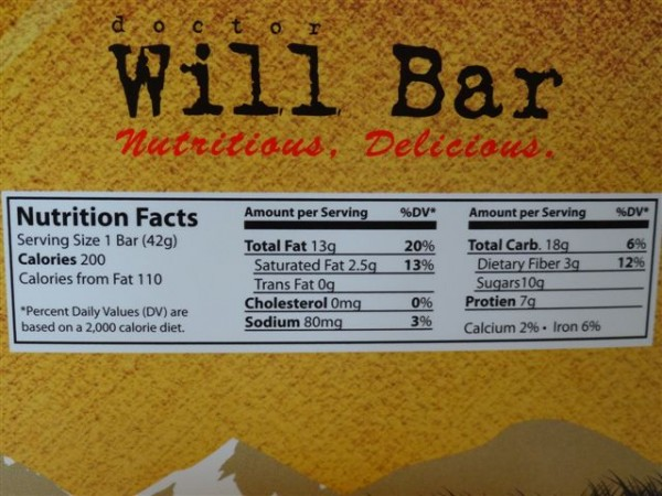 Dr Will Bars Ingredient and Nutritional Information from box side.